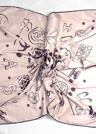Платок модный женский на осень на весну 95×95 см бежевый
