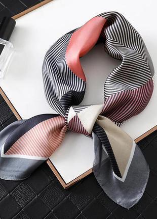 Коралловый серый платок косынка повязка для волос твилли