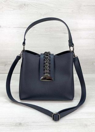 Женская сумка среднего размера синяя сумка через плечо синий клатч через плечо