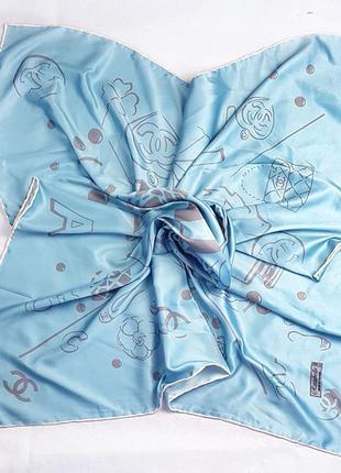 Платок модный женский на голову на шею шелк-твилл голубой