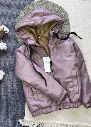 Куртка теплая из экокожи с капюшоном, на синтепоне 150, 122-158 см
