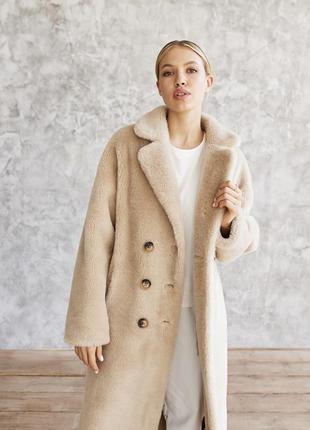 Тёплая зимняя длинная овечья шубка на высокий рост