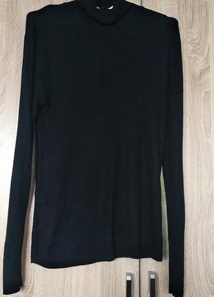 Черный натуральный гольф в рубчик свитер светр размер 50-52