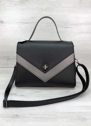 Женская сумка черная сумка среднего размера сумка наплечная классическая сумка