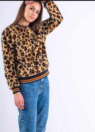 Свитер, меховой свитшот с леопардовым принтом