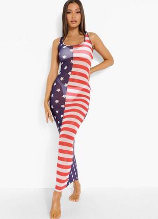 Boohoo. товар привезен из англии. прозрачное платье макси для пляжа.