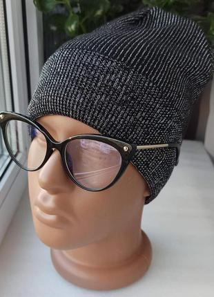 Новая осеняя шапка с люрексом (хлопковая подкладка) черная