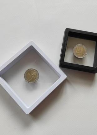 Рамка с подставкой для монет белая черная большая маленькая рамочка витрина 3 д подставка кейс холдер