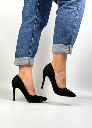 Туфли лодочки замш на каблуке