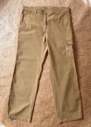 Женские темно-бежевые штаны карго светло-коричневые с карманами свободные