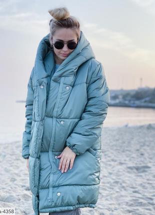 Зимняя куртка «зефирка» двубортная с двойным капюшоном плащевка лаке утеплитель силикон 300