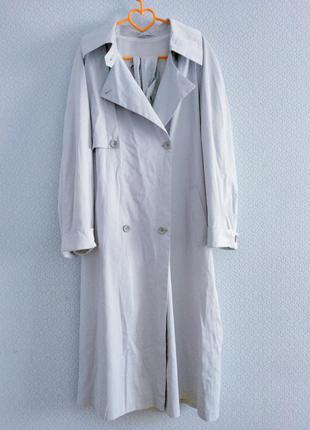 Великолепный двубортный винтажный длинный плащ тренч тренчкот оверсайз