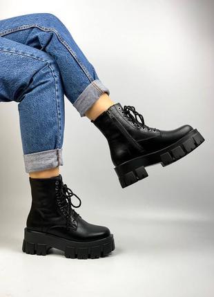 Ботинки натуральная кожа чёрные женские на тракторной подошве