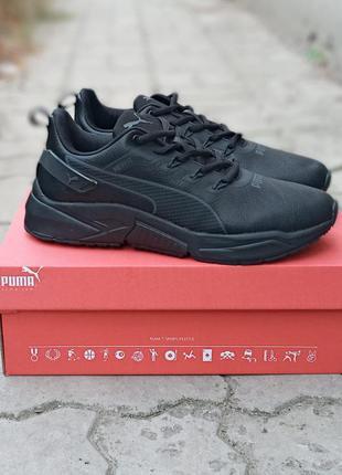 Мужские кроссовки puma net fit черные, кожаные