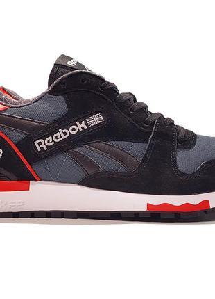 Кроссовки reebok gl 6000 black gray red серые мужские