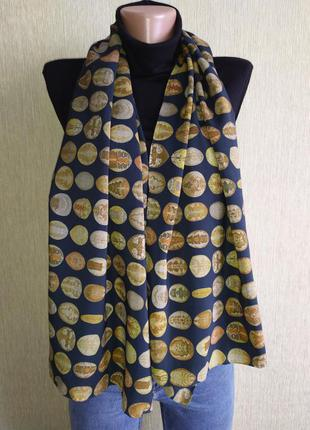 Фирменный шарф палантин из натурального шелка