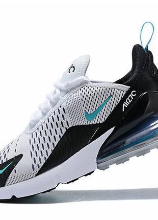 Мужские кроссовки nike air max 270 white black green белые