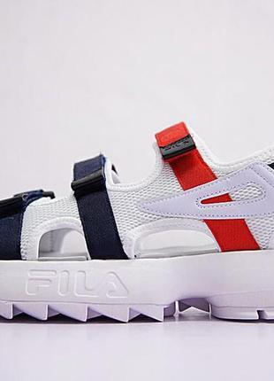 Женские сандалии fila sandal white/black/red