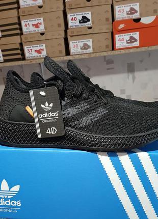 Кроссовки adidas 4d runner triple black черные мужские