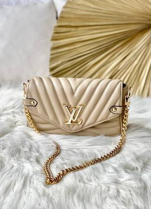 Wave beige брендовая женская бежевая роскошная сумочка клатч с цепью и ремешком трендова жіноча стильна бежева сумка