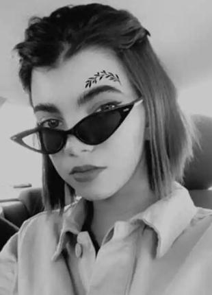 Ультрамодные узкие очки солнцезащитные кошечки черные лисички окуляри сонцезахисні чорні вузькі ретро