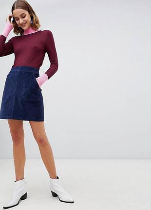 🍀синяя вельветовая юбка warehouse