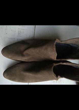 Замшевые кожаные ботильоны zara 40 (26.5)