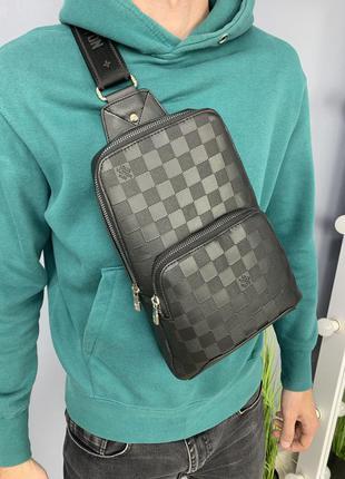 Мужской слинг, качественная сумка из pu кожи, черная стильная через плечо