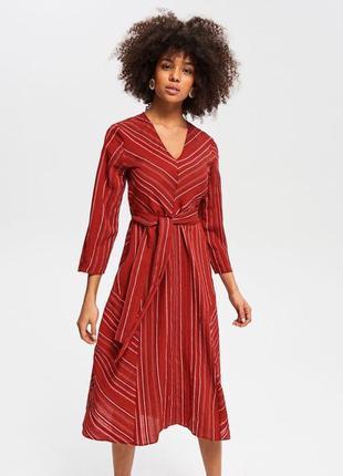 Шикарное нарядное платье миди в полоску reserved сукня міді большой размер