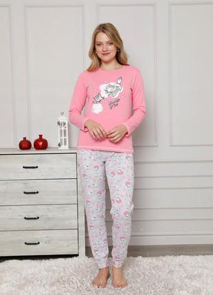 Женская розовая пижама со штанами - котики