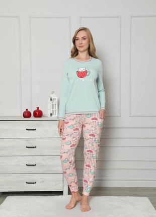 Женская хлопковая пижама со штанами - котик в чашке