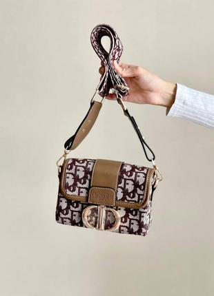 Брендовая женская стильная коричневая мини сумочка с ремешком жіноча трендова модна міні сумка