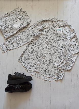 Белая новая рубашка блузка из вискозы sinsay