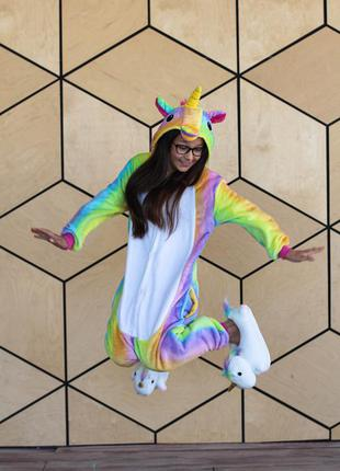 Теплая детская пижама кигуруми радужный единорог / дитяча піжама кігурумі єдиноріг