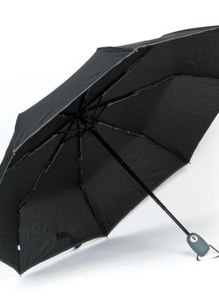 Компактный черный зонт автомат с серым кантом