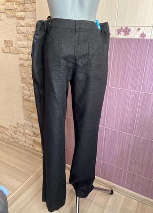 Черные льняные легкие фирменные брюки лен 100%