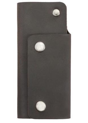 1133517223 ключница из матовой темно-коричневой кожи helford кросс brn