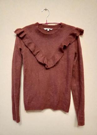 Стильний теракотовий светр з рюшою