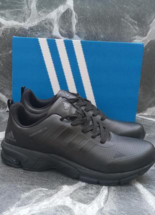 Мужские кроссовки adidas marathon черные,кожаные, осенние