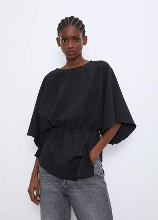 Асимметрия черная блуза  zara