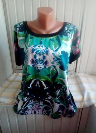 Вискозная трикотажная блуза с шелковой вставкой большого размера батал