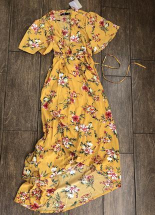 Новое летнее платье с бирками с запахом с поясом легкое missguided