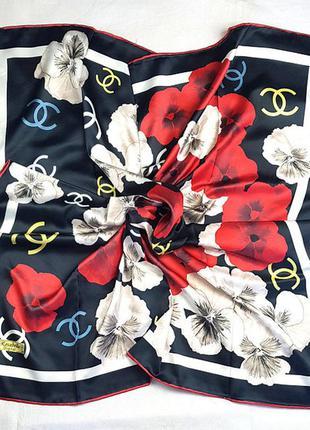 Платок модный женский на осень на весну шелк-твилл черный красный
