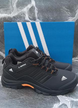 Мужские кроссовки adidas climaproof черные, кожаные
