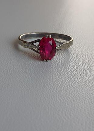 Винтажное кольцо серебро в позолоте с рубином ссср