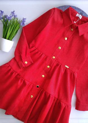 Красное вельветовое платье для девочки