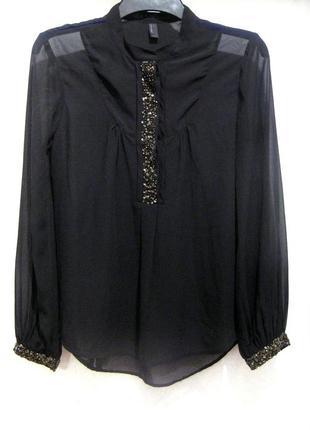 Красивая полупрозрачная чёрная блуза с пайетками vero moda