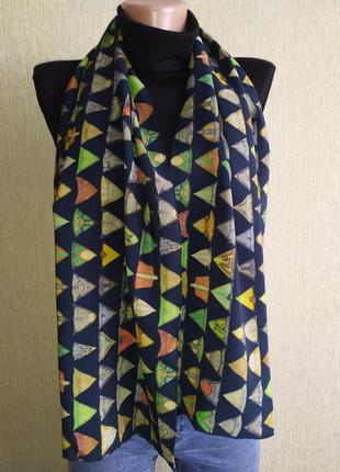 Шелковый шарф с оригинальным принтом,шов роуль