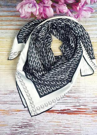 Платок модный женский на голову на шею шелк-твилл черный белый