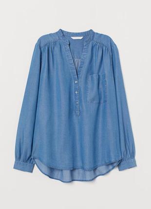Голубая джинсовая блуза рубашка с вырезом декольте пуговицами спереди батал большого размера h&m